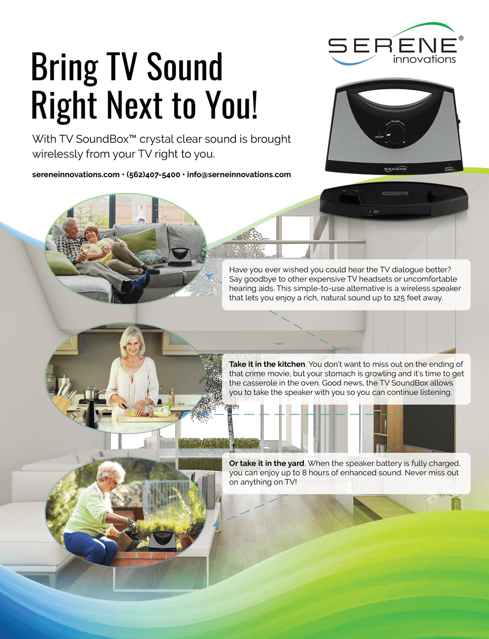 Serene Innovations - Bring TV Sound Right Next to You! Magazine Ad