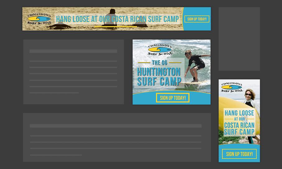 Corky Carrol Surf School - Display Ads