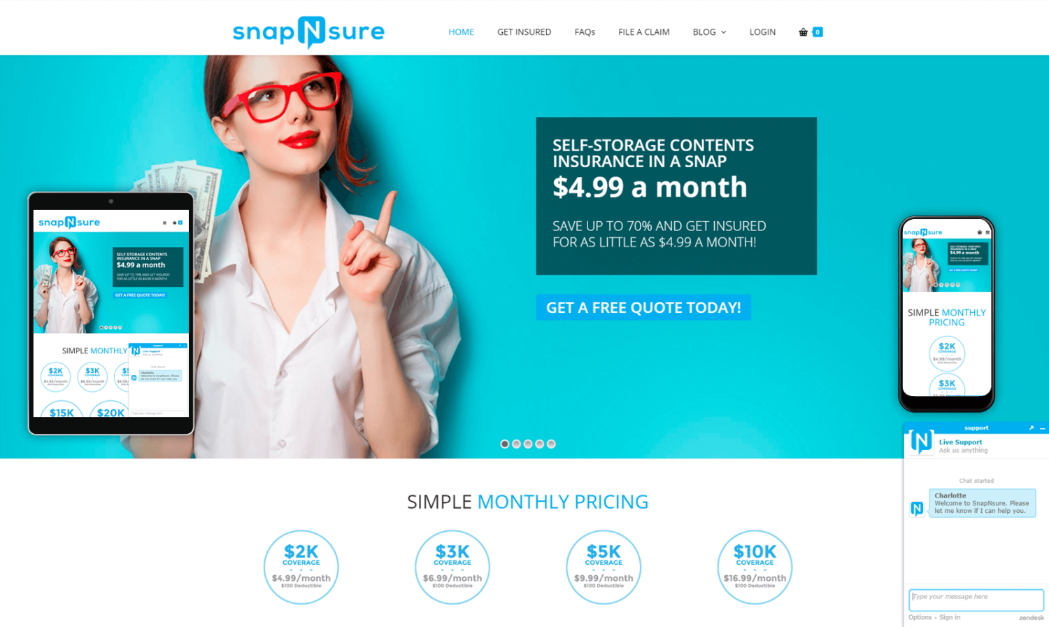 SnapNsure Website Design - By Young Company